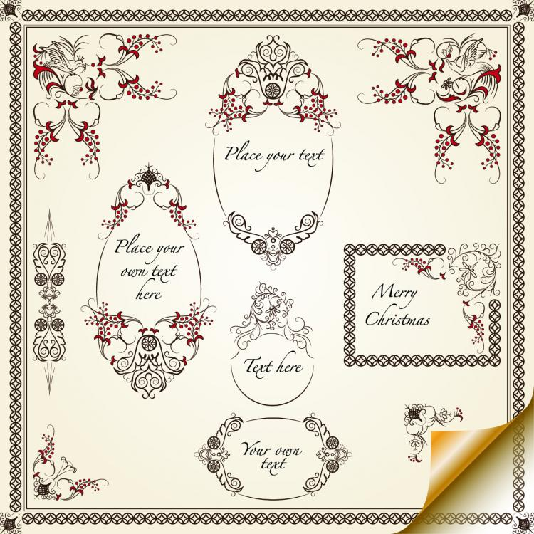 free vector European pattern border 04 vector
