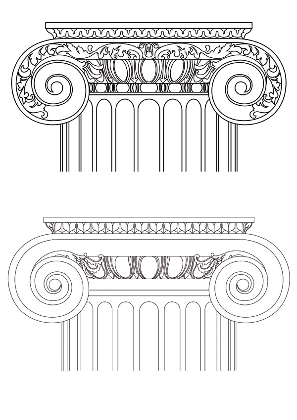 free vector European pillar vector