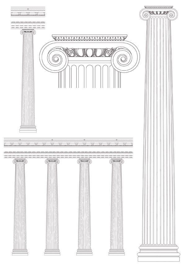 free vector European pillar vector