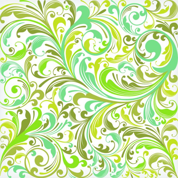 European plant pattern background vector 5 Free Vector