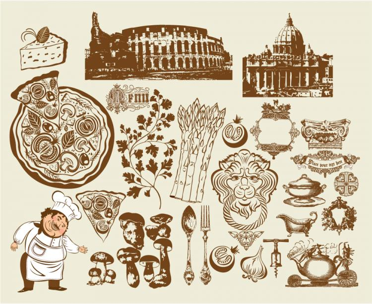 free vector European restaurant design vector