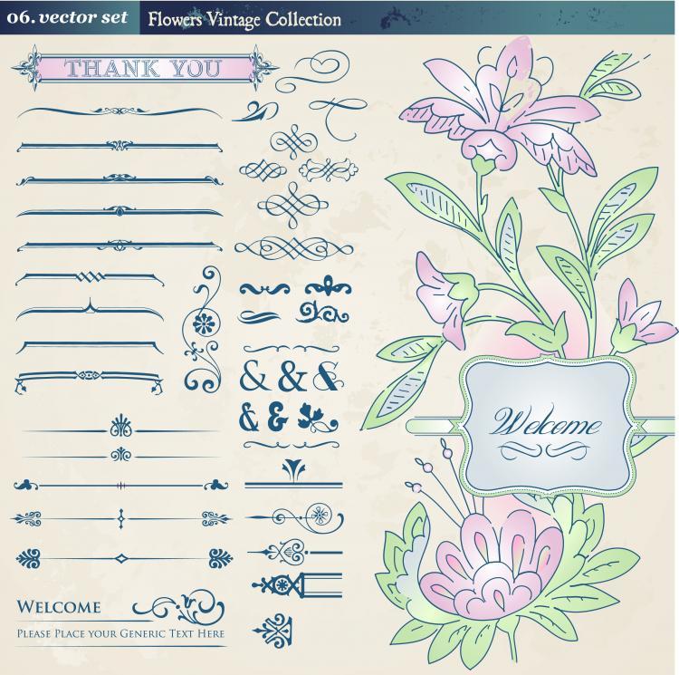 free vector European retro floral lace pattern vector 2