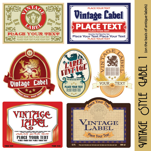 free vector European Retro Label Vector European Vector