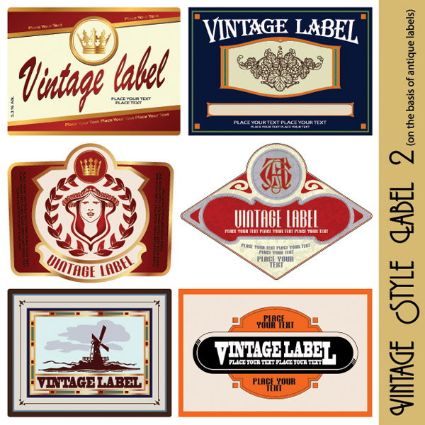 free vector European retro label vector