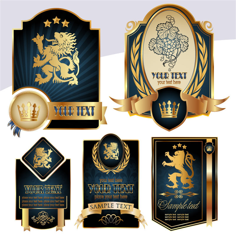 free vector European royal flag label