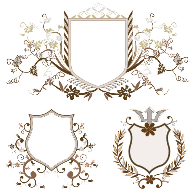 free vector European shield pattern vector