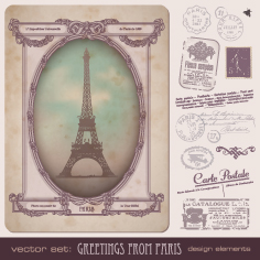free vector European stamps and postcards vector