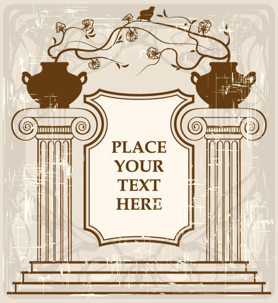 free vector European-style classical columns pattern vector material