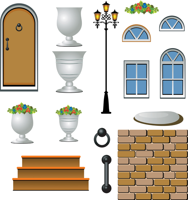 free vector Europeanstyle courtyard element vector