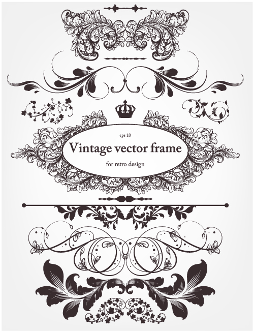free vector Europeanstyle floral border and decorations 01 vector