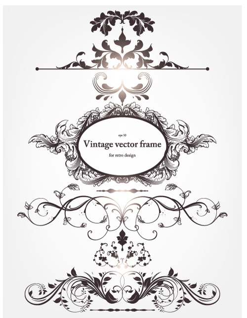 free vector Europeanstyle floral border and decorations 03 vector