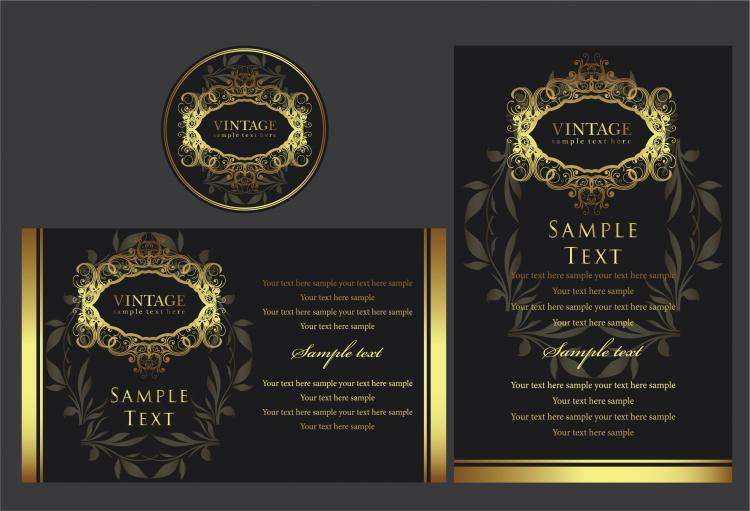 free vector Europeanstyle gold frame pattern vector