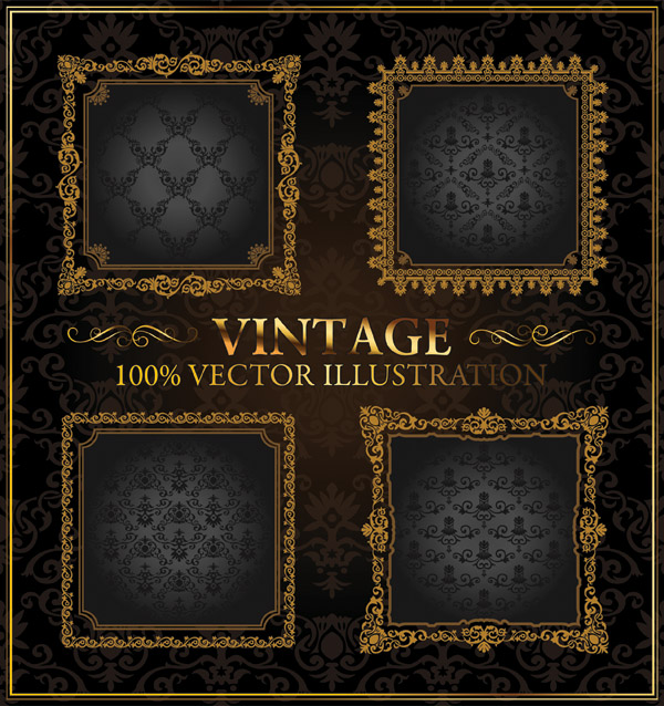 free vector Europeanstyle gold frame vector