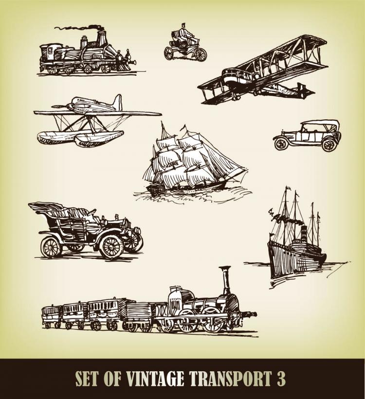 free vector Europeanstyle handdrawn transport carrier 01 vector