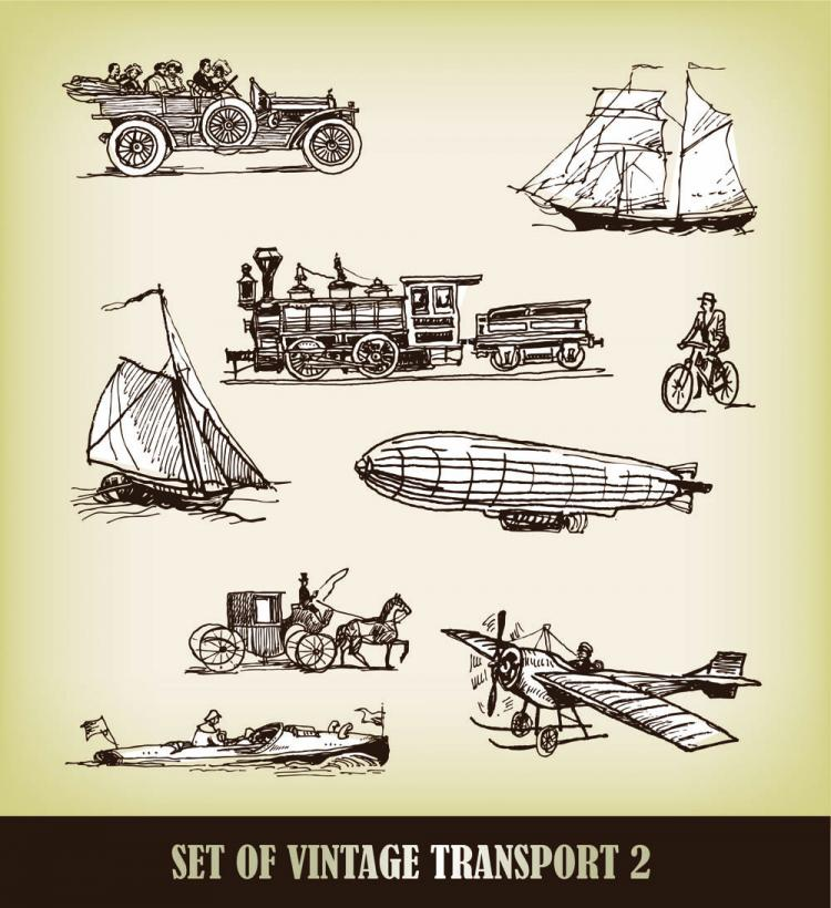 free vector Europeanstyle handdrawn transport carrier 03 vector