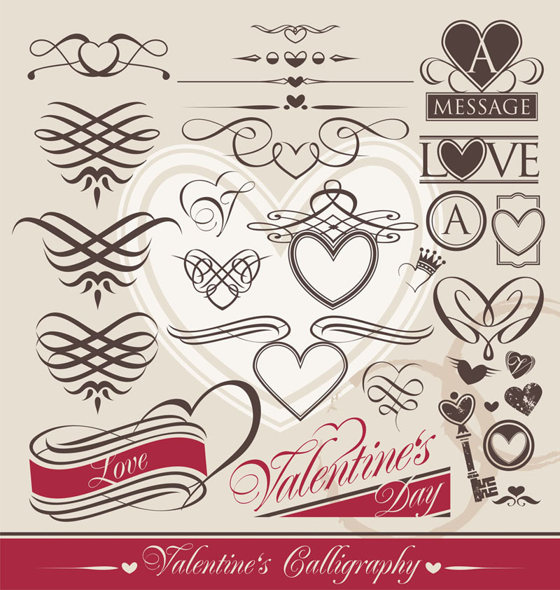 free vector Europeanstyle heartshaped lines vector