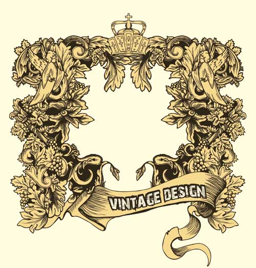 free vector Europeanstyle lace frames retro pattern vector