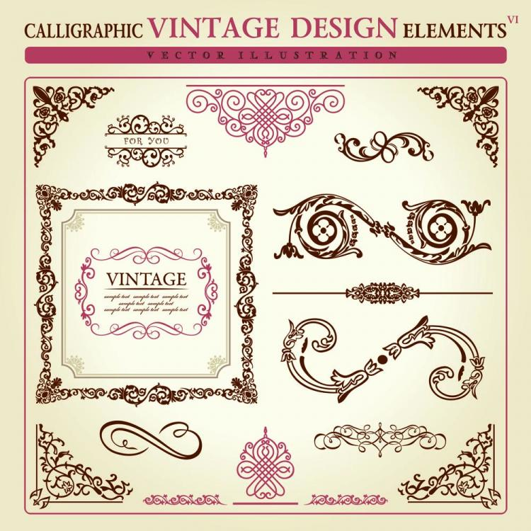 free vector Europeanstyle lace pattern elements 03 vector