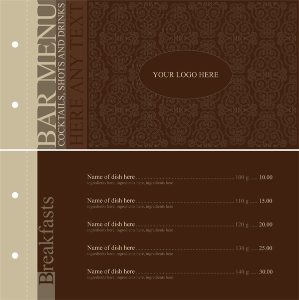 free vector Europeanstyle lace pattern vector menu templates