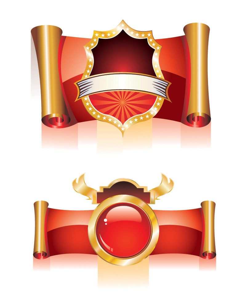 Europeanstyle ribbon scroll icon vector Free Vector / 4Vector