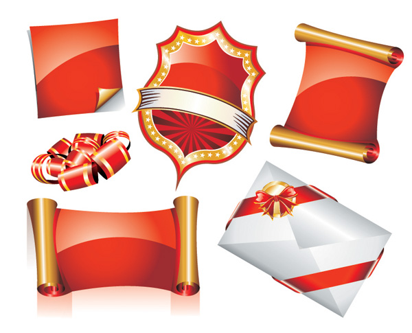 free vector Europeanstyle ribbon scroll icon vector