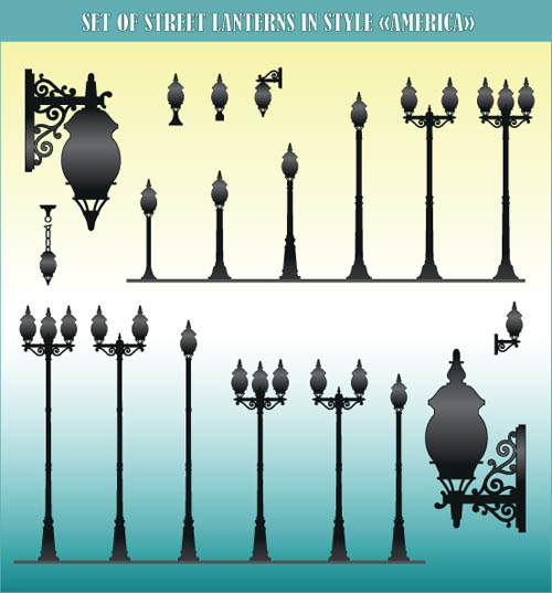 free vector Europeanstyle street lamps chandelier lamp vector