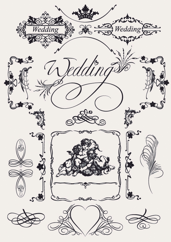 free vector Europeanstyle wedding pattern vector