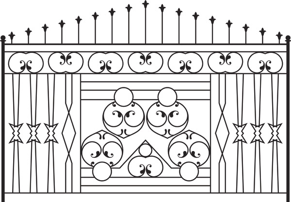 free vector Europeantype pattern iron fence 02 vector