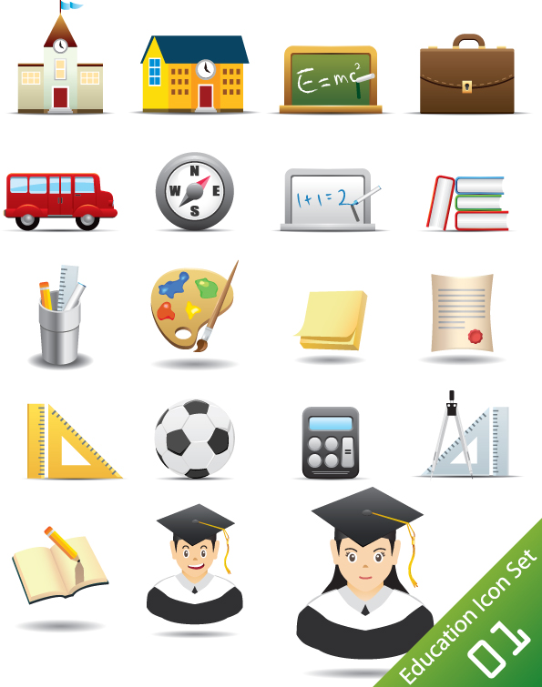 free vector Everyday office supplies icon vector