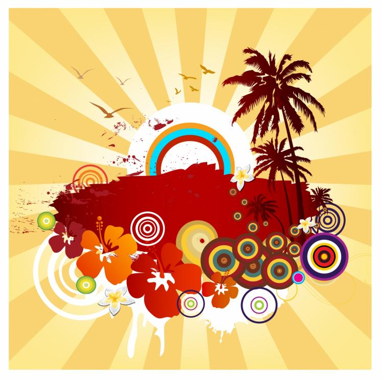 free vector Exotic summer design