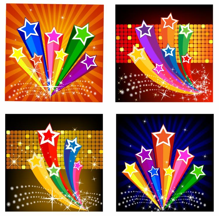 free vector Exploding star banners