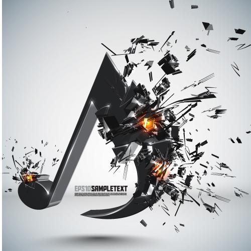 free vector Explosive threedimensional graphics 05 vector
