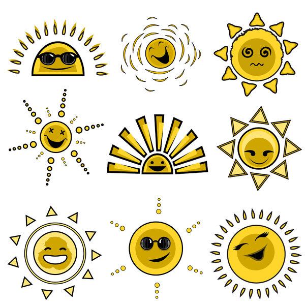 free vector Expression vector cute funny sun