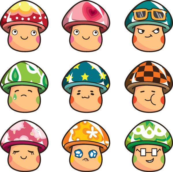 free vector Expression vector cute mushrooms