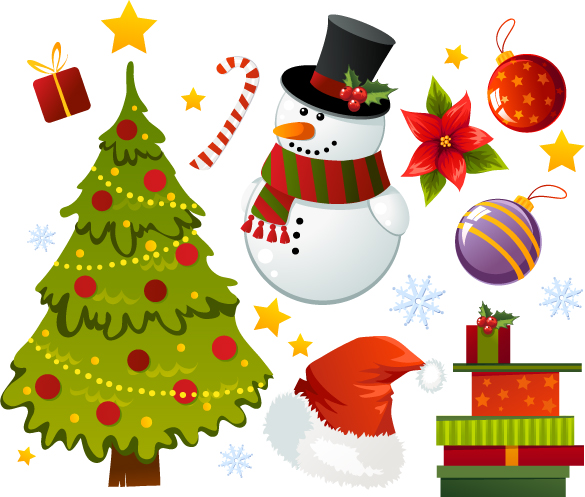 free vector Exquisite cartoon christmas ornaments vector