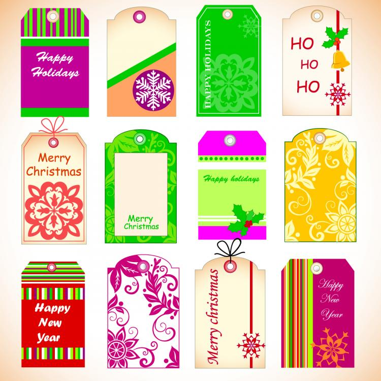 free vector Exquisite christmas labels vector