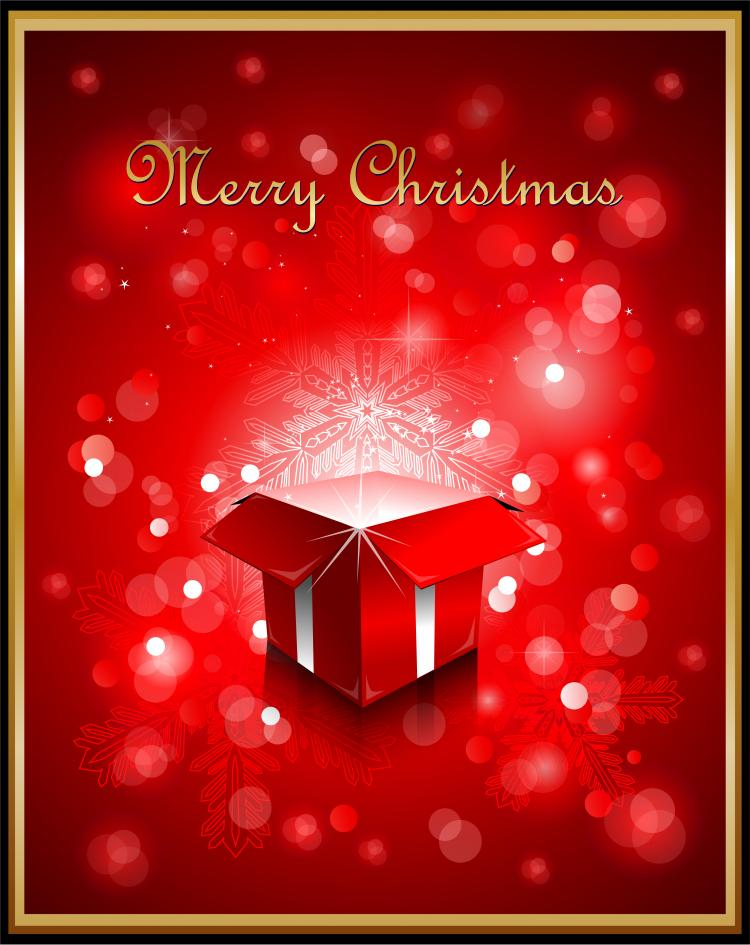 free vector Exquisite christmas red elements poster vector