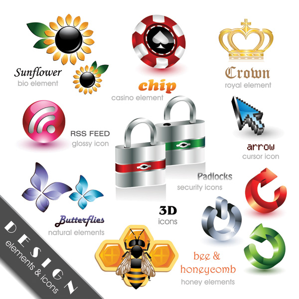 free vector Exquisite collection of threedimensional icon vector