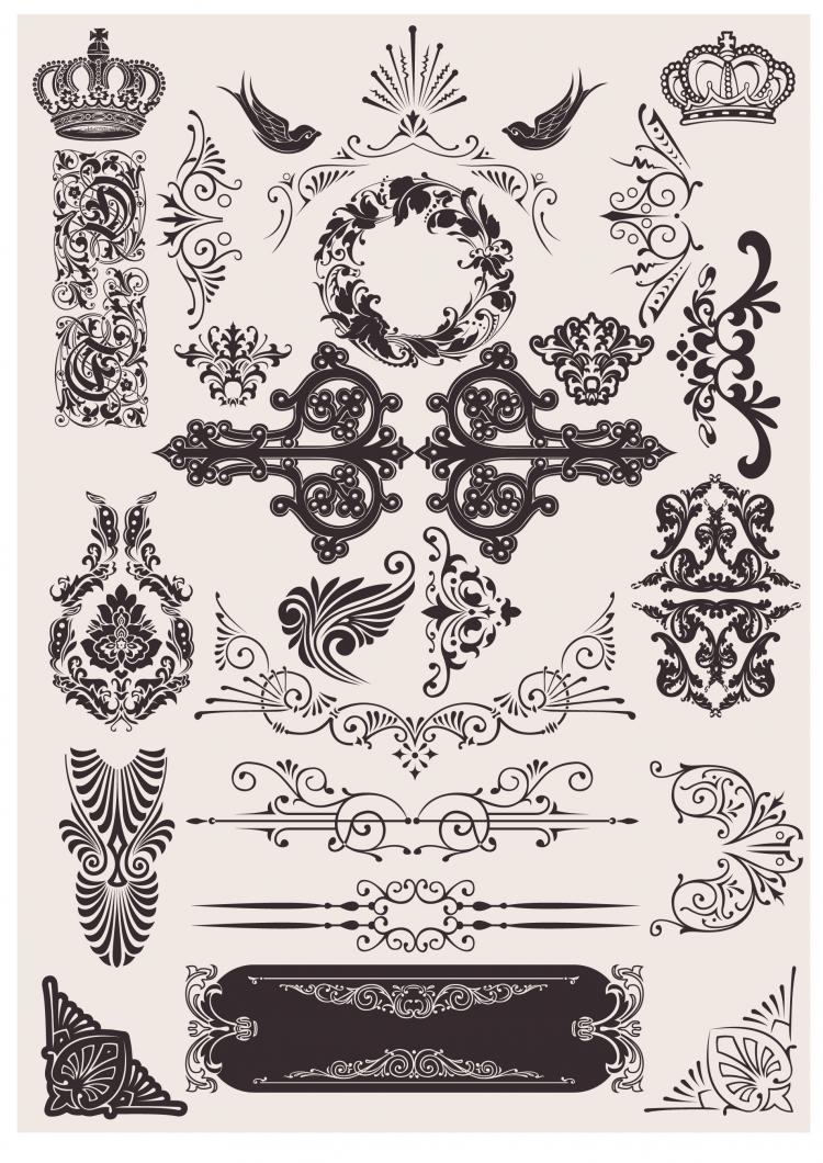 free vector Exquisite decorative pattern background 03 vector