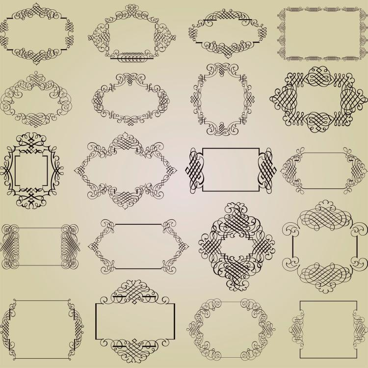 free vector Exquisite decorative patterns 01 vector