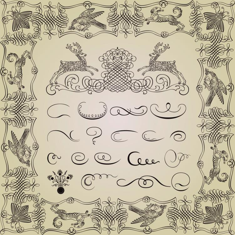 free vector Exquisite decorative patterns 04 vector