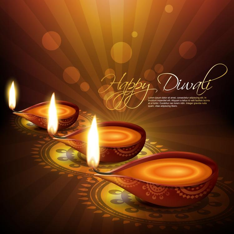 free vector Exquisite diwali background 04 vector
