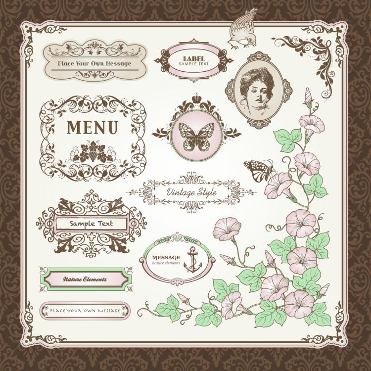 free vector Exquisite europeanstyle pattern label 01 vector