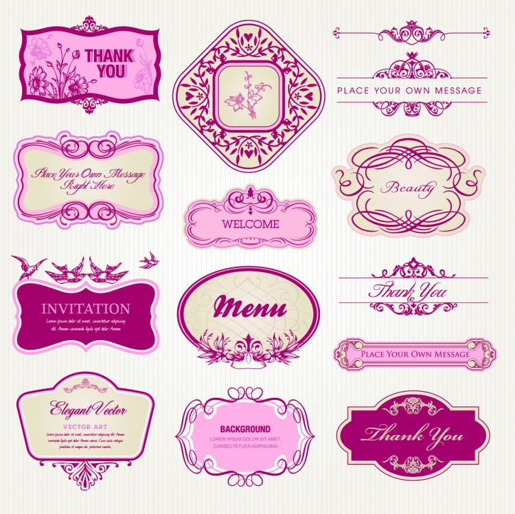 free vector Exquisite europeanstyle pattern label 02 vector