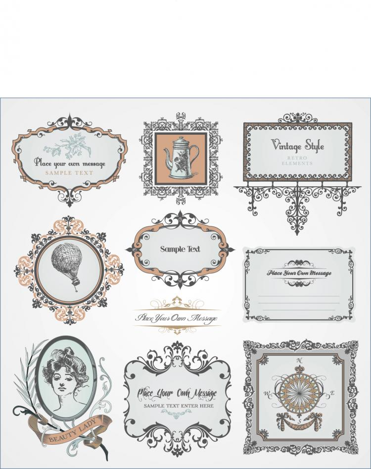 free vector Exquisite europeanstyle pattern label 03 vector