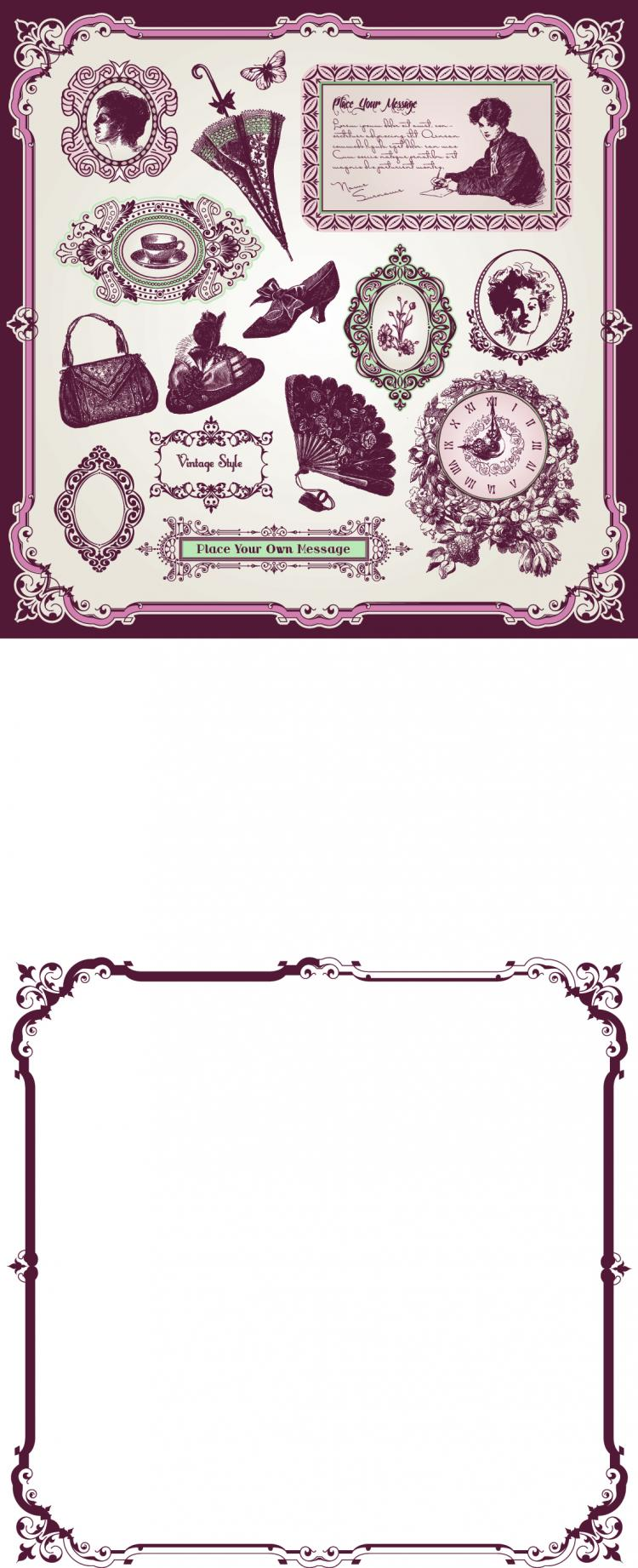 free vector Exquisite europeanstyle pattern label 04 vector