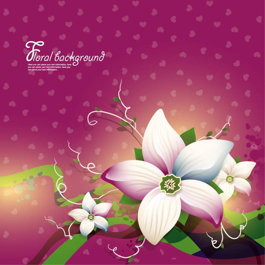 free vector Exquisite floral design background 02 vector