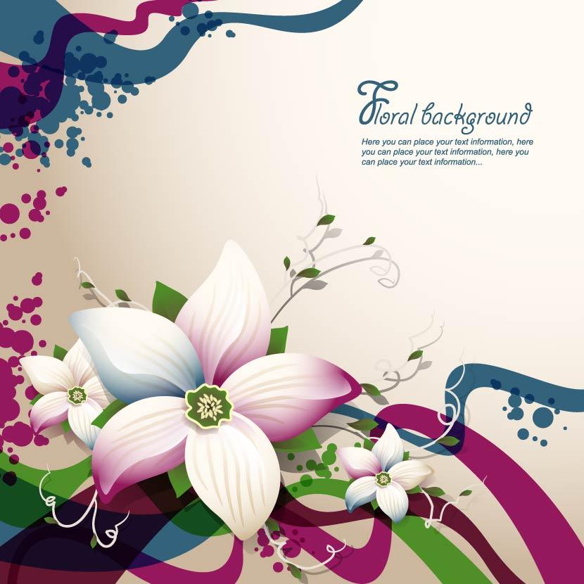free vector Exquisite floral design background 03 vector