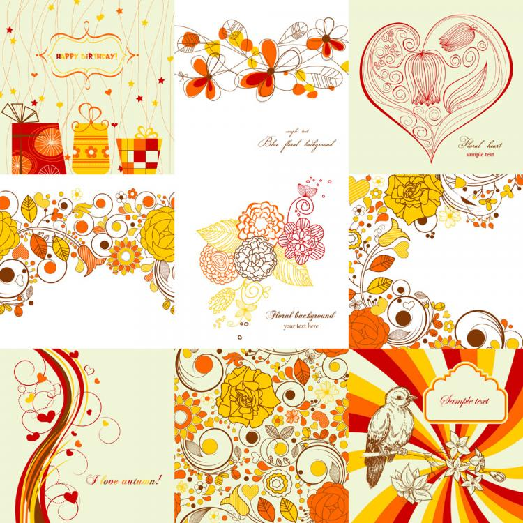 free vector Exquisite handpainted patterns 01 vector