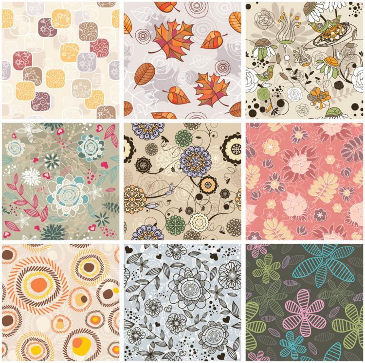 free vector Exquisite handpainted patterns 02 vector